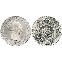 Madrid, Spain, 20 reales, Isabel II, 1855 (mintmark 6-point star).