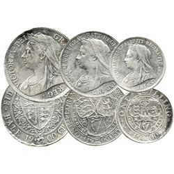 Set of 3 New Zealand Victorian silver coins dated 1900 (1/2 crown, 2 shillings and 1 shilling).