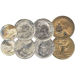 Lot of 4 Philippines coins/medal: two silver 1 pesos, 1936, Roosevelt and Quezon; one silver 50 cent