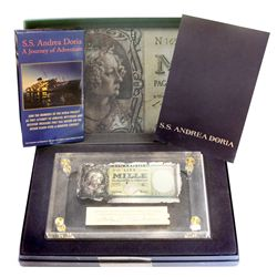 Italian 1000-lire banknote of 1947 recovered from the wreck, encased in Lucite with hand-signed card