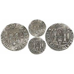 "Mexico City, Mexico, 4 reales, Charles-Joanna, ""Early Series,"" assayer R (Latin) at bottom between p"