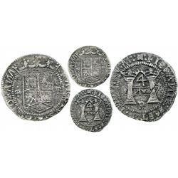 "Mexico City, Mexico, 4 reales, Charles-Joanna, ""Early Series,"" assayer P over erased Latin R at bott"