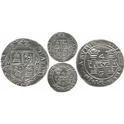 "Mexico City, Mexico, 4 reales, Charles-Joanna, ""Early Series,"" assayer G at bottom between pillars."