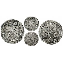 """Mexico City, Mexico, 3 reales, Charles-Joanna, """"Early Series,"""" assayer Gothic R at bottom between pi"""