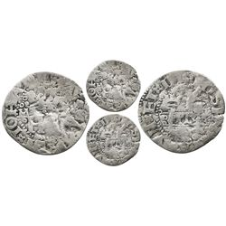 """Mexico City, Mexico, 1/2 real, """"Early Series,"""" assayer F to right of monogram, extremely rare."""