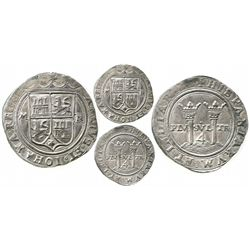 """Mexico City, Mexico, 4 reales, Charles-Joanna, """"Late Series,"""" assayer R to right, mintmark M to left"""
