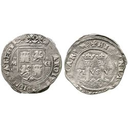 """Mexico City, Mexico, 1 real, Charles-Joanna, """"Late Series,"""" assayer oG to right, mintmark oM to left"""