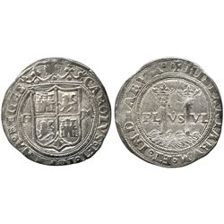 """Mexico City, Mexico, 1 real, Charles-Joanna, """"Late Series,"""" assayer G to left, mintmark M to right."""