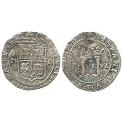 """Mexico City, Mexico, 1 real, Charles-Joanna, """"Late Series,"""" assayer L to right, mintmark M to left."""