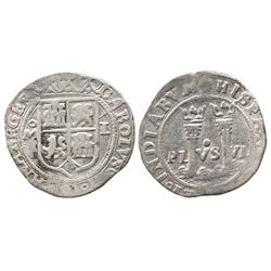"""Mexico City, Mexico, 1 real, Charles-Joanna, """"Late Series,"""" assayer L to right, mintmark oM to left."""