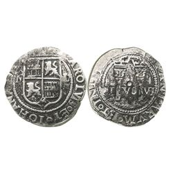 """Mexico City, Mexico, 1 real, Charles-Joanna, """"Late Series,"""" assayer L/O to right, mintmark oM to lef"""