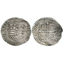 Mexico City, Mexico, cob 4 reales, Philip II, assayer O below mintmark oM to left.