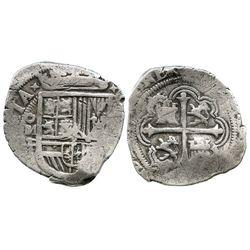 Mexico City, Mexico, cob 4 reales, Philip II, assayer F.