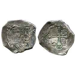 Mexico City, Mexico, cob 4 reales, (16)55P, rare.