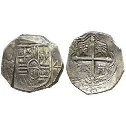 Mexico City, Mexico, cob 4 reales, Philip IV, assayer P, with test-cut as from circulation in the Or