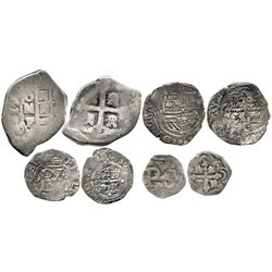 Lot of 4 Mexico City, Mexico, small silver cobs: 4R 17(30-33)F; 1R Philip II assayer not visible; 1/