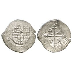 Mexico City, Mexico, cob 2 reales, Philip III, assayer D.