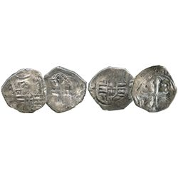 Lot of 2 Mexico City, Mexico, cob 2 reales, Philip IV, assayer P and not visible.