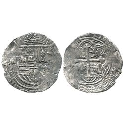 Mexico City, Mexico, cob 1 real, Philip II, assayer not visible (O or F), mintmark oM to left.