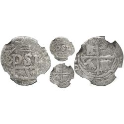 Mexico City, Mexico, cob 1/2 real, Philip II, assayer F to right, encapsulated NGC VG 10.