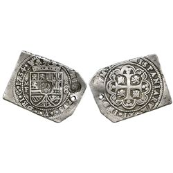 Mexico City, Mexico, klippe 8 reales, 1734MF, with rare, multiple single-cloud-over-volcano counterm