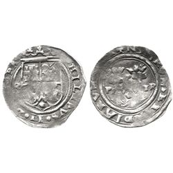 Lima, Peru, 1 real, Philip II, assayer R (Rincon), motto as PL-VSV-TR above denomination (dot), obve