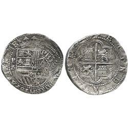 Lima, Peru, cob 8 reales, Philip II, assayer Diego de la Torre, P-8 (flat top) to left, (*-oD) to ri