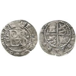 Lima, Peru, cob 1/2 real, Philip II, assayer Diego de la Torre, .D to left, * to right of monogram.
