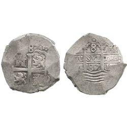Lima, Peru, cob 8 reales, 1687R.