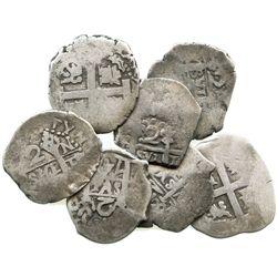 Lot of 7 Lima, Peru, cob 2R, Philip V, various dates (where visible).