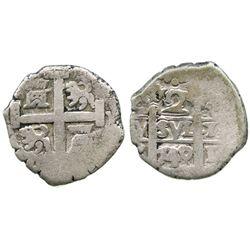 Lima, Peru, cob 2 reales, 1740/39V, unlisted overdate.