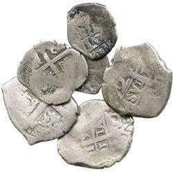 Lot of 6 Lima, Peru, cob 2R and 1R, Philip V to Ferdinand VI, various dates.