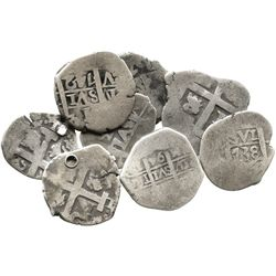 Lot of 8 Lima, Peru, cob 1R, Charles II and Philip V, various dates.