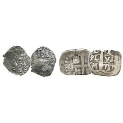 Lot of 2 small Lima, Peru, cobs of Philip V: 1R 1711M and 1/2R 1746.