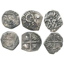Lot of 3 Lima, Peru, cob 1/2R of Charles II: 1684, 1693 and 1694.