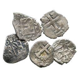 Lot of 5 Lima, Peru, cob 1/2R of Ferdinand VI, various dates (1748-1751), where visible.