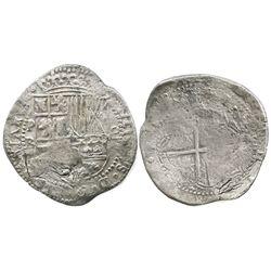 Potosi, Bolivia, cob 8 reales, Philip II, assayer B (4th period).