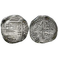 Potosi, Bolivia, cob 8 reales, 1619T, quadrants of cross transposed.