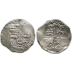 Potosi, Bolivia, cob 8 reales, Philip III, assayer not visible, probably from the Atocha (1622).