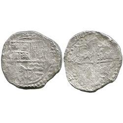 Potosi, Bolivia, cob 8 reales, (1)6ZIII [1623], assayer not visible, quadrants of cross transposed,