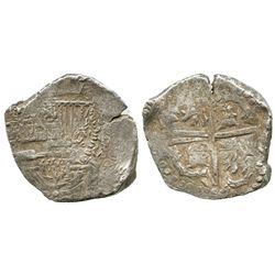 Potosi, Bolivia, cob 8 reales, Philip IV, assayer not visible (style of mid-1620s), quadrants of cro