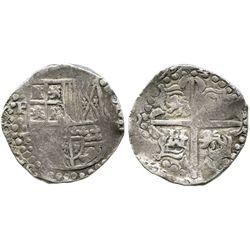Potosi, Bolivia, cob 8 reales, (16)29T, heavy-dot borders, denomination oVIII, quadrants of cross tr