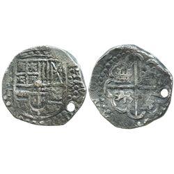 Potosi, Bolivia, cob 8 reales, 1629T, heavy-dot borders, denomination 8.