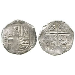 Potosi, Bolivia, cob 8 reales, Philip IV, assayer TR (large, ca. 1640).