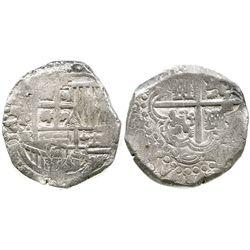 Potosi, Bolivia, cob 8 reales, Philip IV, assayer TR (large, mid-1640s).
