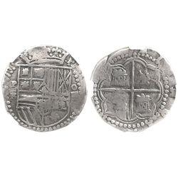 Potosi, Bolivia, cob 4 reales, Philip II, assayer B (3rd period), encapsulated NGC F 12.