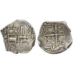 Potosi, Bolivia, cob 4 reales, Philip III, assayer T, rotated-o4 denomination, quadrants of cross tr
