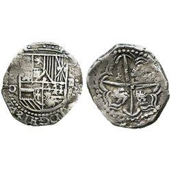 Potosi, Bolivia, cob 2 reales, Philip III, assayer Q/C (rare), error with modified 2 for S in HISPA(