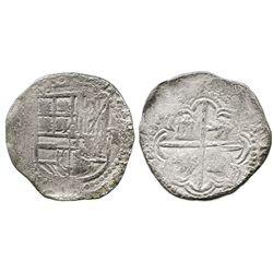Potosi, Bolivia, cob 2 reales, Philip III, assayer not visible.