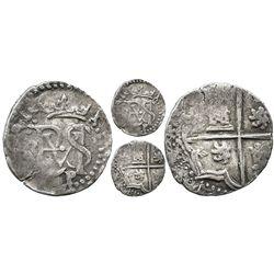 Potosi, Bolivia, cob 1/2 real, Philip II, assayer B to left, mintmark P below monogram (2nd period),